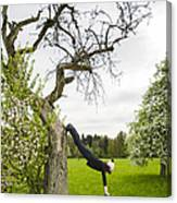 Amazing Stretching Exercise - Bmx Flatland Rider Monika Hinz Uses A Tree Canvas Print
