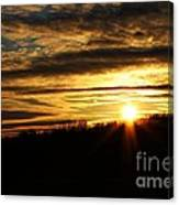 Amber Sky Over The Hills Canvas Print
