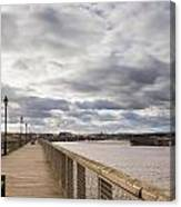Amble Harbour And Village Canvas Print