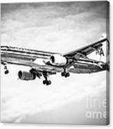 Amercian Airlines 757 Airplane In Black And White Canvas Print