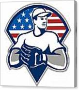 American Baseball Pitcher Gloves Retro Canvas Print