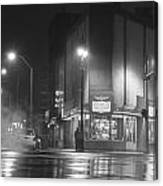American Coney In Detroit Black And White Canvas Print