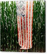 American Flag And A Field Of Corn Canvas Print