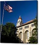 American Flag And Hoover Tower Stanford University Canvas Print