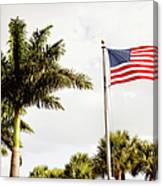 American Flag Flying Amongst Palm Trees Canvas Print