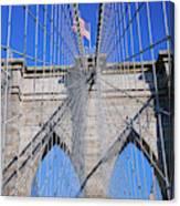 American Flag Flying Over Brooklyn Canvas Print