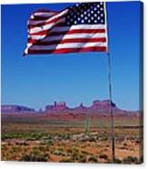 American Flag In Monument Valley Canvas Print