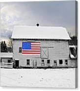 American Flag On A Pennsylvania Barn Canvas Print