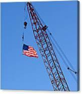 American Flag On Construction Crane Canvas Print