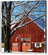 American Flag Red Barn Canvas Print
