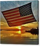 American Flag Sunset 14 2/18 Canvas Print