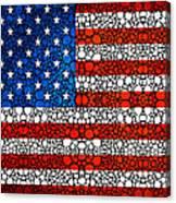 American Flag - Usa Stone Rock'd Art United States Of America Canvas Print