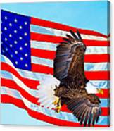 American Flag With Bald Eagle Canvas Print