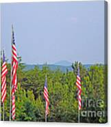 American Flags With Kennesaw Mountain In Background Canvas Print