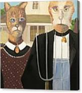 American Gothic Cat Canvas Print