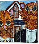 American Gothic Cats - A Parody Canvas Print