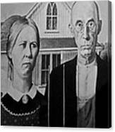 American Gothic In Black And White 1 Canvas Print