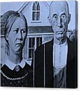 American Gothic In Cyan Canvas Print