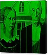 American Gothic In Green Canvas Print