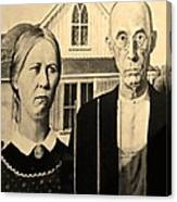American Gothic In Sepia Canvas Print