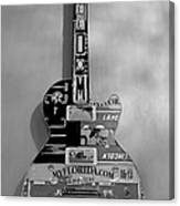 American Guitar In Black And White Canvas Print
