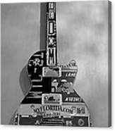 American Guitar In Black And White1 Canvas Print