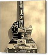 American Guitar In Sepia Canvas Print