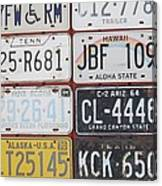 American License Plates Canvas Print