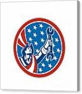 American Patriot Holding Spanner Circle Retro Canvas Print
