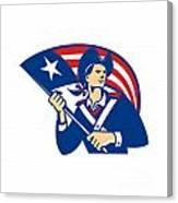 American Patriot Minuteman With Flag Retro Canvas Print
