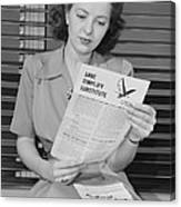 American Woman Reads A Government Canvas Print