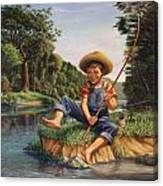 Americana - Country Boy Fishing In River Landscape - Square Format Image Canvas Print