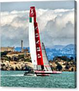 America's Cup And Alcatraz Ll Canvas Print