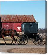 Amish Buggy And Star Barn Canvas Print