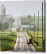Amish Buggy Confronts The Modern World Canvas Print