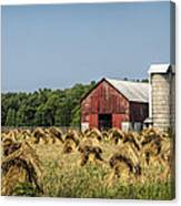 Amish Country Wheat Stacks And Barn Canvas Print