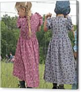 Amish Girls Having Fun Canvas Print