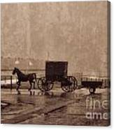 Amish Horse And Buggy With Wagon Bw Canvas Print