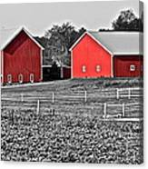 Amish Red Barn And Farm Canvas Print