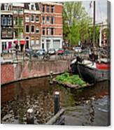 Amstel River Waterfront In Amsterdam Canvas Print