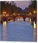 Amsterdam - Canal In The Evening Canvas Print