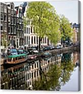 Amsterdam Canal In Spring Canvas Print