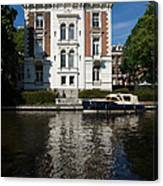 Amsterdam Canal Mansions - Bright White Symmetry  Canvas Print