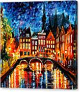 Amsterdam-canal - Palette Knife Oil Painting On Canvas By Leonid Afremov Canvas Print