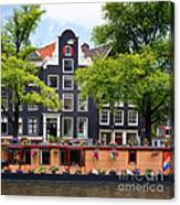 Amsterdam Canal With Houseboat Canvas Print