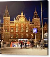 Amsterdam Central Station And Metro Entrance Canvas Print