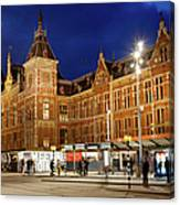 Amsterdam Central Station And Tram Stop At Night Canvas Print