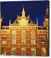 Amsterdam Central Train Station At Night Canvas Print