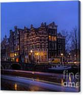 Amsterdam Corner Cafe With Light Trails Canvas Print