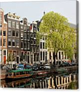 Amsterdam Houses Along The Singel Canal Canvas Print